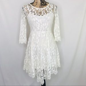 FREE PEOPLE Ivory Floral Lace 3/4 Sleeve Dress